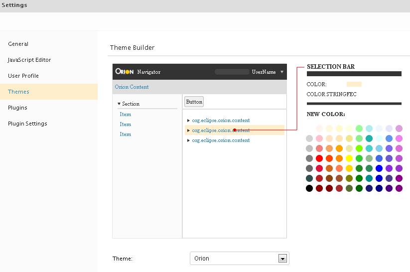 Theme settings page