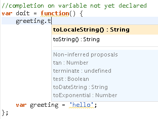 Sample of infering variables above their declaration
