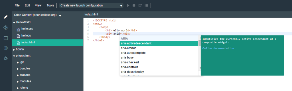 Content assist proposal list showing only aria attributes, with aria-activedescendant selected