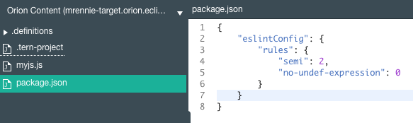 Package.json ESlint configuration section